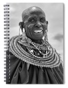Maasai Woman In Black And White Spiral Notebook