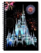 Magic Kingdom Castle In Frosty Light Blue With Fireworks 06 Spiral Notebook