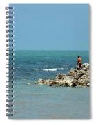 Man On Rocks Looks Out To Ocean From Rocky Beach Jaffna Peninsula Sri Lanka Spiral Notebook