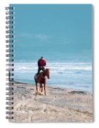 Man Riding On A Brown Galloping Horse On Ayia Erini Beach In Cyp Spiral Notebook