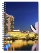 Marina Bay Sands Art Science Museum And Helix Bridge At Dusk Singapore Spiral Notebook