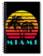 Miami 80s Tropical Sunset Spiral Notebook