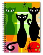 Mid Century Modern Abstract Mcm Bowling Alley Cats 20190113 Square Spiral Notebook
