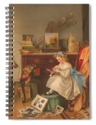 Miss Oakley Making The Scrapbook 1866 Spiral Notebook