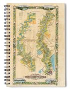 Mississippi River Historic Map Lousiana New Orleans Baton Rouge Map Farming Plantation Hand Painted  Spiral Notebook