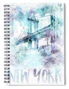 Modern Art Nyc Manhattan Bridge - Jazzy Watercolor Spiral Notebook