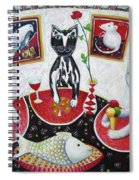 Monaco Cats Red Spiral Notebook