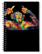 Monkey Drummer Gift For Musicians Color Design Spiral Notebook