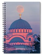 Moon On Top Of The Cross Of The Magnificent St. Sava Temple In Belgrade Spiral Notebook