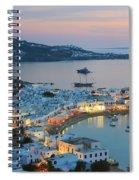 Mykonos Town At Sunset Mykonos Cyclades Greece  Spiral Notebook