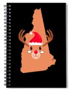 New Hampshire Christmas Antler Red Nose Reindeer Spiral Notebook
