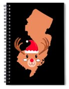 New Jersey Christmas Hat Antler Red Nose Reindeer Spiral Notebook