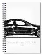 Nissan Skyline Gt-r R34 1989 Black And White Illustration Spiral Notebook