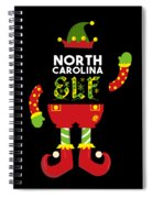 North Carolina Elf Xmas Elf Santa Helper Christmas Spiral Notebook