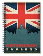 Nottingham England City Skyline Flag Spiral Notebook