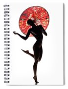 Nude Woman With Red Parasol Spiral Notebook