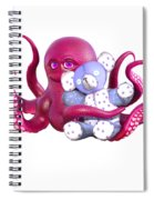 Octopus Pink With Bear Spiral Notebook