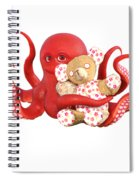Octopus Red With Bear Spiral Notebook