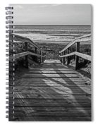 Ogunquit Beach Footbridge At Sunrise Ogunquit Maine Black And White Spiral Notebook
