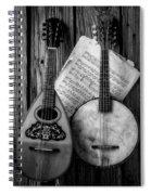 Old Banjo And Mandolin Black And White Spiral Notebook