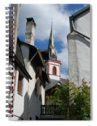 old historic church spire and houses in Ediger Germany Spiral Notebook