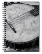 Old Mandolin Banjo In Black And White Spiral Notebook