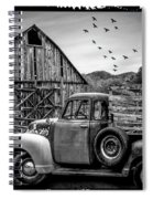 Old Truck At The Barn Bordered Black And White Spiral Notebook