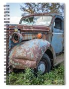 Old Vintage Blue Pickup Truck Among The Weeds Spiral Notebook