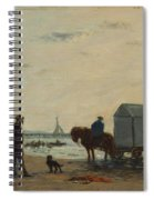 On The Beach At Trouville  Spiral Notebook