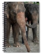 One Man, Two Elephants Spiral Notebook