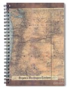 Oregon Washington Historic Map Colton Sepia Map Hand Painted Spiral Notebook