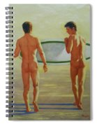 Original  Man Body Oil Painting  Gay Art -two Male Nude By The Sea#16-2-3-02 Spiral Notebook