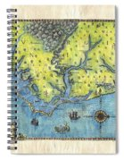Outer Banks Historic Antique Map Hand Painted Spiral Notebook