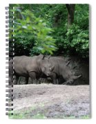 Pair Of Rhinos Standing In The Shade Of Trees Spiral Notebook