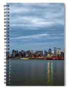 Panorama Of Seattle Skyline At Night With Storm Clouds Spiral Notebook