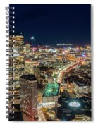 Panoramic View Of The Boston Night Life Spiral Notebook
