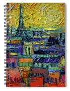 Paris Rooftops View From Centre Pompidou - Textural Impressionist Stylized Cityscape Mona Edulesco Spiral Notebook