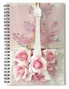 Paris Shabby Chic Pink White Roses Eiffel Tower Baby Girl Nursery Decor - Paris Pink Roses Spiral Notebook
