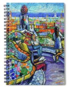 Park Guell Enchanted Visitors - Impasto Palette Knife Stylized Cityscape Spiral Notebook