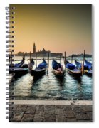 Parked Gondolas, Early Morning In Venice, Italy.  Spiral Notebook