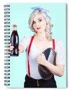 Pin-up Girl Holding Soft Drink Bottle Spiral Notebook