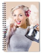 Pinup Girl Holding Kettle And Mug Spiral Notebook