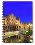 Plaza De Espana At Night Seville Andalusia Spain Spiral Notebook