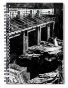 Post Falls Dam Black And White Spiral Notebook
