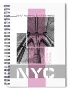 Poster Art Nyc Brooklyn Bridge Details - Pink Spiral Notebook