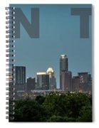 Poster Of Downtown Austin Skyline Over The Green Trees Spiral Notebook