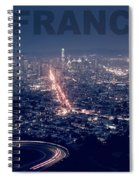 Poster Of Downtown San Francisco With Harbor On The Right Spiral Notebook
