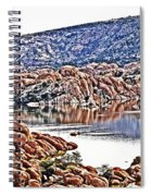 Prescott Arizona Watson Lake Rocks, Hills Water Sky Clouds 3122019 4867 Spiral Notebook