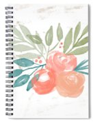 Pretty Coral Roses 2- Art By Linda Woods Spiral Notebook