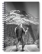 Rear View Of A Sasquatch Hitchhiking Spiral Notebook